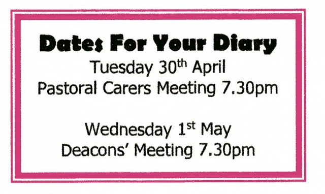 Dates for your diary.
